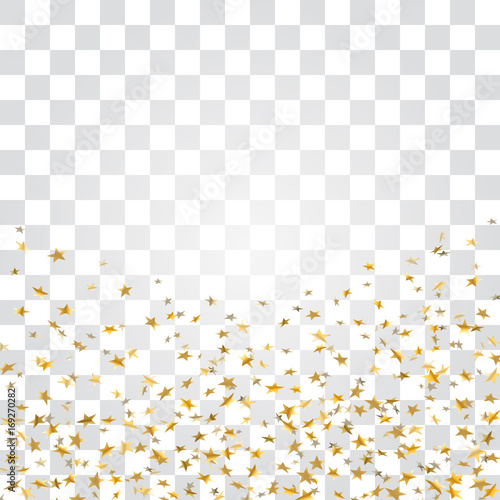 Gold stars falling confetti isolated on white transparent