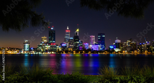 Perth skyline with reflection in Swan River