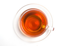 Isolate A Cup Of Tea On A Saucer From Above