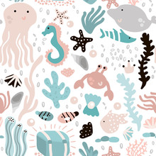 Seamless Pattern With Undersea Elements And Fish,octopus,whale,seaweeds,crab. Childish Texture For Fabric, Textile. Vector Background