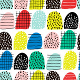 Seamless abstract pattern with hand drawn shapes and elements. Vector trendy texture. Bright creative fabric design - 169273839