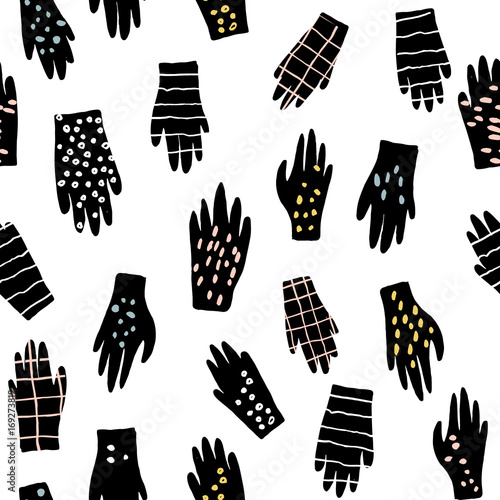 Cotton fabric Creative seamless pattern with gloves. Ink drawn texture with hands. Vector illustration
