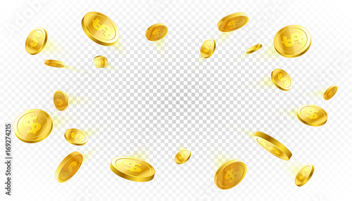 Cuadros en Lienzo Explosion of gold coins with place for text on transparent background