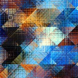Square grunge texture. Geometric abstract background of the squares and dirty grunge effect. - 169275009