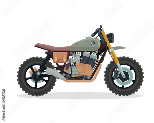 Photo Vintage Classic Cafe Racer Motorcycle Illustration