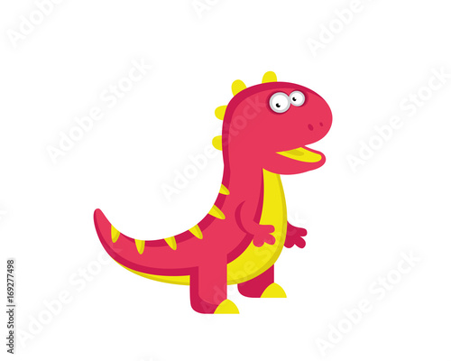 Flat Cute Dinosaur Character Canvas Print