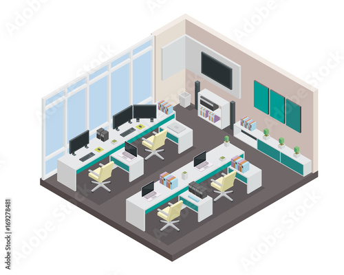 Modern Productive Creative Office Space Interior Design In Isometric