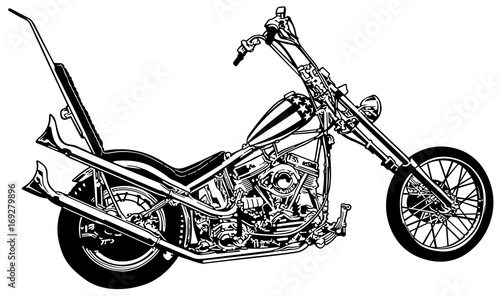 Fotografia, Obraz Captain America a Chopper Profile - Black and White Illustration, Vector