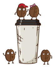 Vector Illustration Of Coffee Bean Character With Coffee Cup. Cartoon Dancing Coffee Beans.