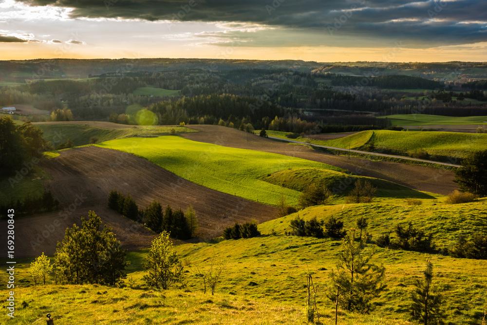 Spring view from Cisowa mountain in Suwalski landscape park, Podlasie, Poland
