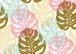 Seamless pattern with trendy tropical summer motifs, exotic leaves