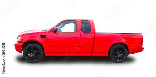 фотография  Red American pickup.