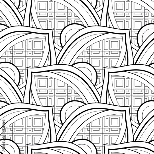 Fototapeta Monochrome Seamless Pattern with Ethnic Motifs Endless Texture with Abstract Design Element Art Deco, Nouveau, Islamic, Arabic Style Coloring Book Vector Contour Illustration Ornate Abstraction