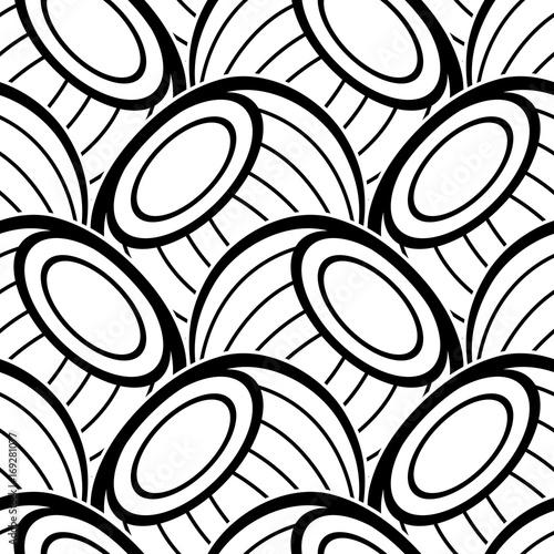 Fototapeta Black and White Seamless Pattern with Ethnic Motifs