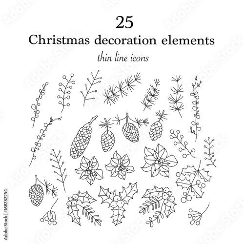 Set of 25 Christmas botanical symbols. Wallpaper Mural