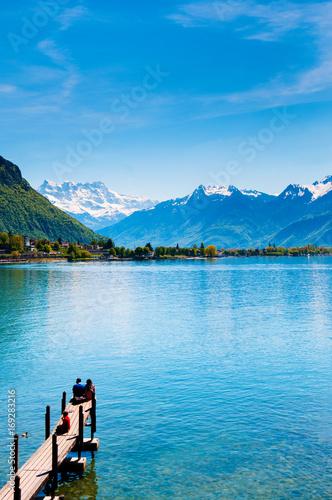 Leinwand Poster Wooden bridge at Chillon castle, Lake Geneva, Montreux, Switzerland