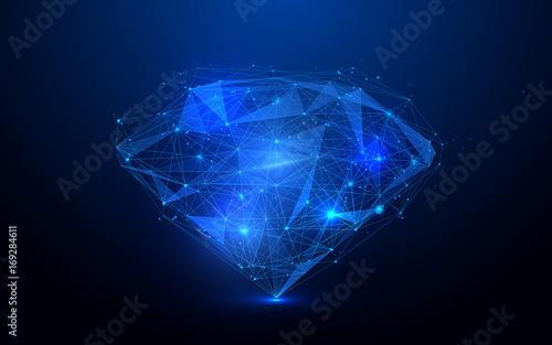 Siatka szkieletowa niskiej wielokąta diament na niebieskim tle