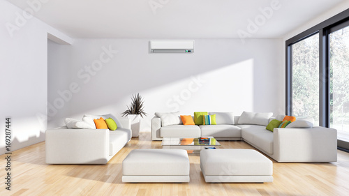 Modern bright living room Farmhouse Modern Bright Living Room With Air Conditioning White Wall 3d Rendering Adobe Stock Modern Bright Living Room With Air Conditioning White Wall 3d