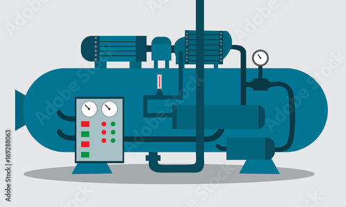 Fototapeta Compressor for storage of chemical. Vector illustration. obraz