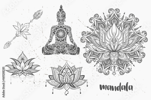 Cadres-photo bureau Style Boho Mandala set and other elements. Vector. Mandala tattoo. , boho style, kaleidoscope, medallion, yoga, india, Arabic. circular pattern, sketch for tattoo