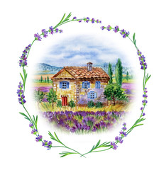 Fototapeta Lawenda Landscape with house and field of lavender in a frame of lavender, watercolor drawing on white background, isolated.