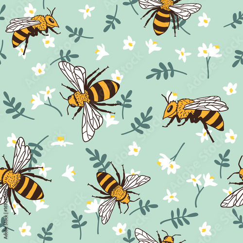 Cotton fabric Vector seamless pattern with bees, leaves and flowers. Black and yellow texture