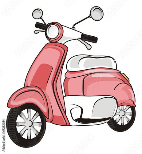 Poster Motorcycle moped, scooter, motorcycle, transport, bicycle, pink, girl, one