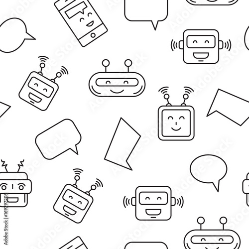 Cartoon character cute Robot Seamless Pattern whith Chat