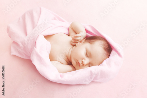 Newborn baby girl sleep on pink blanke Canvas Print