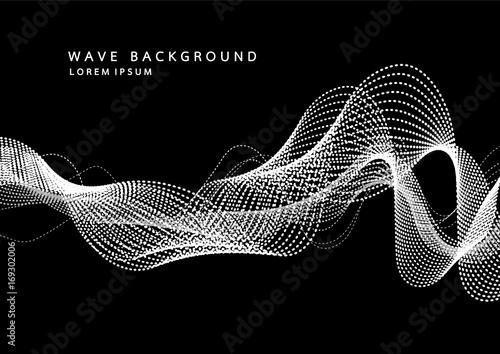 Fototapeta Abstrakcyjne tło z dynamicznych fal dźwiękowych cząstek. Fala muzycznej ścieżki dźwiękowej do nagrania. Ilustracji wektorowych