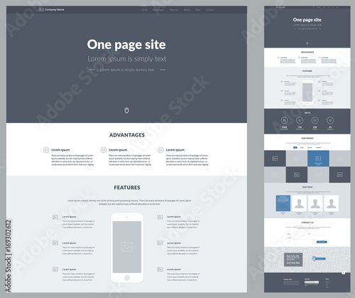 Fotografija One page website design template for business