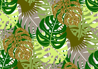 Panel Szklany Na stół i biurko Seamless pattern with trendy tropical summer motifs, exotic leaves and plants.