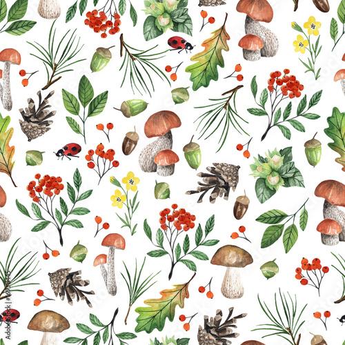 bezszwowe-bialy-wzor-z-grzybami-orzechami-liscmi-zoledziami-recznie-rysowane-akwarela