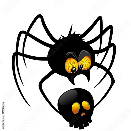 Deurstickers Draw Halloween Spider Cartoon holding Black Skull