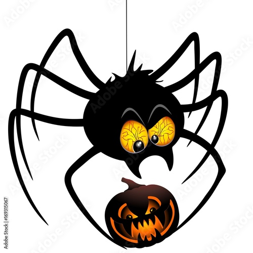 Spoed Foto op Canvas Draw Halloween Spider Cartoon holding a Pumpkin
