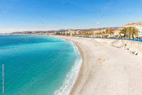 France Nice Mediterranean beach Canvas Print