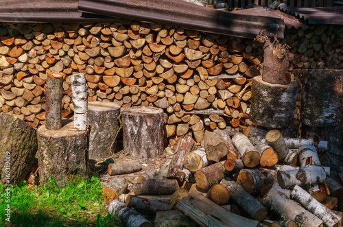 In de dag Brandhout textuur A pile of firewood prepared for the fireplace.