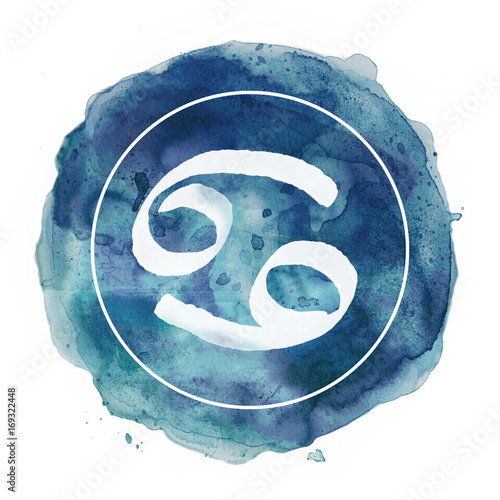 Photo cancer zodiac sign on watercolor background