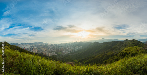 Staande foto Bleke violet Mountain valley during sunset. Natural summer landscape in hong kong