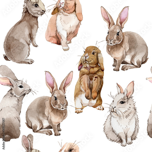 Rabbit wild animal pattern in a watercolor style. Full name of the animal: rabbit. Aquarelle wild animal for background, texture, wrapper pattern or tattoo. Wall mural