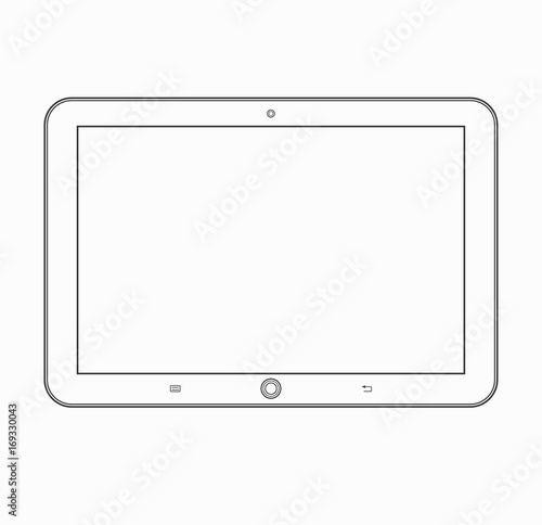 tablet computer outline icon modern vector tablet wireframe