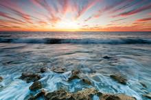 Beautiful Sunset At Toms Beach, Perth, Western Australia.