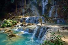 Laos Kuang Si National Park Waterfall