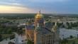 Aerial orbit Iowa State Capitol construction repairs 2017