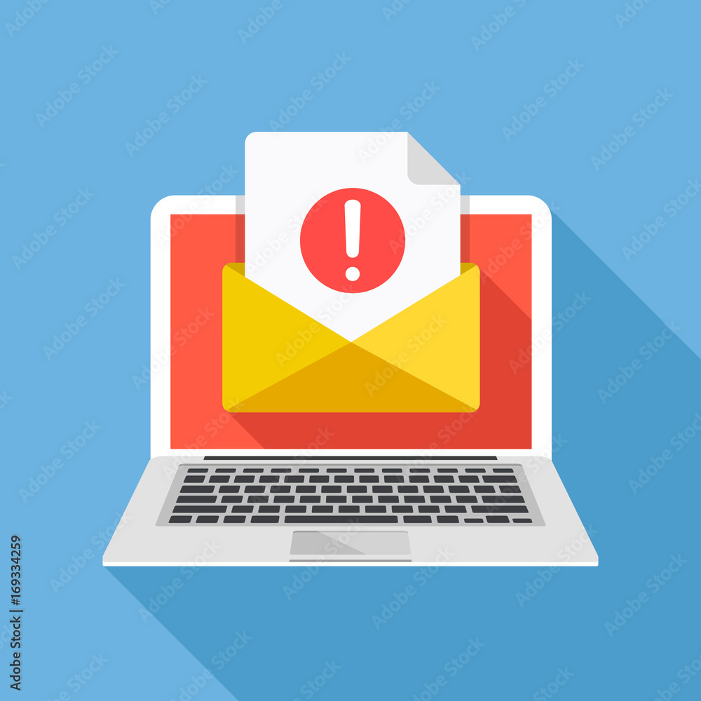 Fototapeta Laptop with envelope and document with exclamation point on screen. Receive notification, alert message, warning, get e-mail, email, spam concepts. Flat design vector illustration