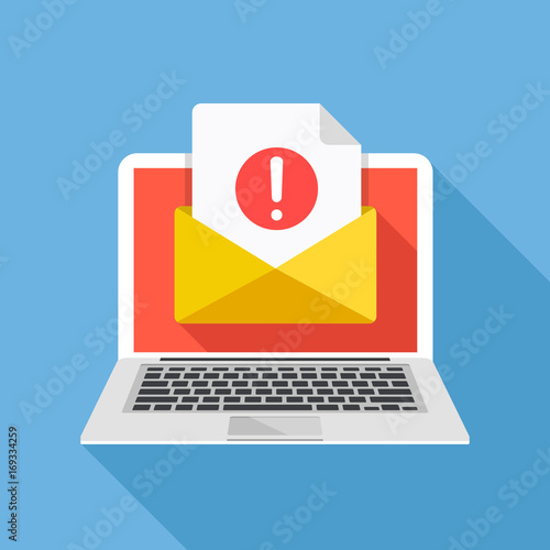 Obraz Laptop with envelope and document with exclamation point on screen. Receive notification, alert message, warning, get e-mail, email, spam concepts. Flat design vector illustration - fototapety do salonu