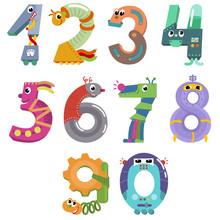 Numbers Like Cartoon Robots