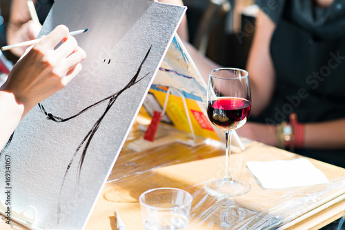 Oil painting wine