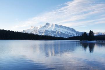 Two Jack Lake in winter near Banff, Alberta