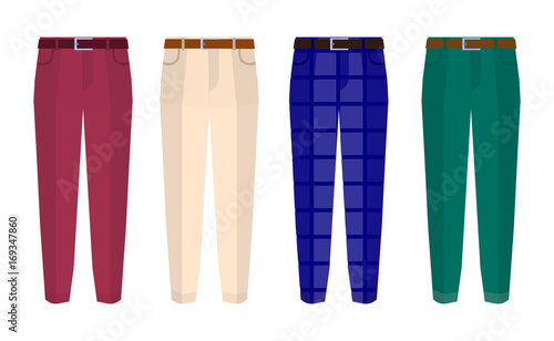 Fototapeta  Set of classic trousers for men different color